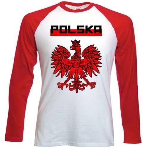 Emblema de fútbol de Polonia camiseta de manga–Rojo
