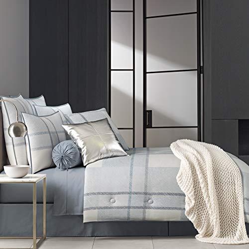 Five Queens Court Blue Langdon Modern Plaid 100% Twill Cotton 4 Piece Comforter Set, King 110x96