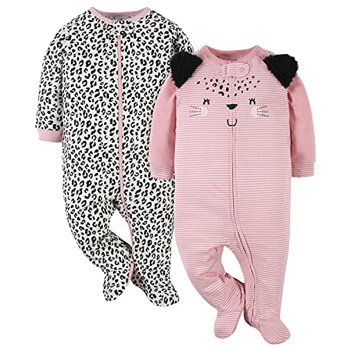 Gerber Paquete de 2 Unidades para bebé, Rosa (Leopard Pink), 6-9 Meses