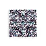 Tovagliette,Sottobicchiere in ceramica modello mandala, cuscinetto isolante termico in sughero quadrato croce 4 pezzi-colore 14