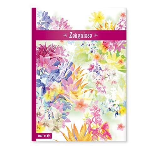ROTH Zeugnismappe A4 Flower - 10 Einlagen für bis zu 20 Zeugnisse - dokumentenecht - Dokumentenmappe