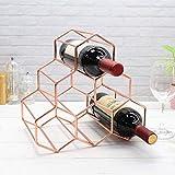 Ybzx Estante de Vino de Metal Dorado Rosa Soporte de Botella de Vino de encimera Independiente 6 Botellas Protector de Ahorro de Espacio Diseño geométrico para Bodega Bar Rack de gabinete