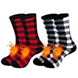 Heated Socks for Men Thick Thermal Socks Winter Cold Weather Warm Socks for Extreme Temperatures pack of 2 (Black/Red) & (Black/White) 9-13 US