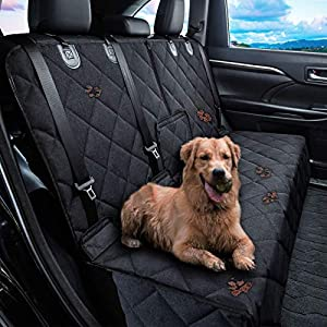 "petalage Dog Car Seat Cover Waterproof Dog Seat Cover for Cars Back Seat Heavy-Duty Nonslip Pet Car Seat Cover Protector Armrest Compatible for Trucks Cars & SUVs (52""Lx50 W, Black Edge)"