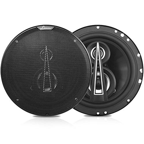 """Lanzar Upgraded Standard 6.5' 3 Way Triaxial Speakers - Full Range Sound w/ 200 Watts and 4 Ohms Impedance 2"""" Titanium Cone Midrange 65 - 20 kHz Frequency Response and 15 Oz Magnet Structure - MX63"""
