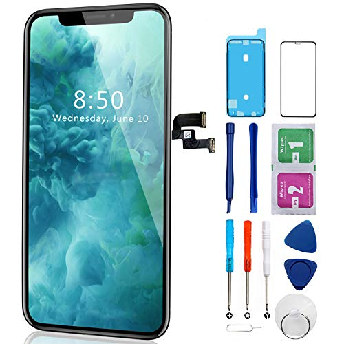 Nroech LCD Screen Replacement for iPhone x with Full Assembly with Front Camera, Ear Speaker and Light/Proximity Sensor, Repair Tools and Free Screen Protector Included…