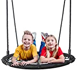SUPER DEAL Largest 48' Web Tree Swing Set - Extra Large Platform - 360 Rotate°- 71inch Adjustable Hanging Ropes - Attaches to Trees or Existing Swing Sets for Multiple Kids or Adult