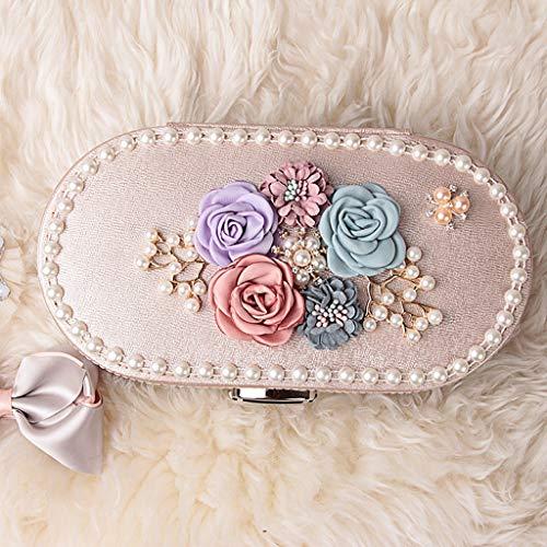 ZL Luxe Ovale sieradendoos voor meisjes en kinderen, afsluitbare sieraden, opbergdoos met kleine spiegel, top 3-dimensionale bloemen-decoratie-edge parelketting