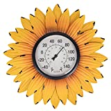 Outdoor Thermometers for Patio-Outdoor Thermometer - Patio Thermometer Wall Thermometer Sunflower Enclosure for Patio, Wall or Decorative, No Battery Required Hanging Thermometer