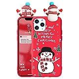 Yoedge Funda para Xiaomi Redmi Note 10 (5G) /Poco M3 Pro, Navidad Carcasa de Silicona Matt Roja con Muñeca 3D Antigolpes Suave TPU Animados Protectora Cover para Redmi Note10 (6,5'), Monigote de nieve
