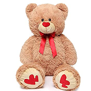 MaoGoLan Giant Teddy Bear Large Stuffed Animals Plush Big Bear with Love Heart for Girlfriend Children Christmas Valentines Day 35 Inch Light Brown