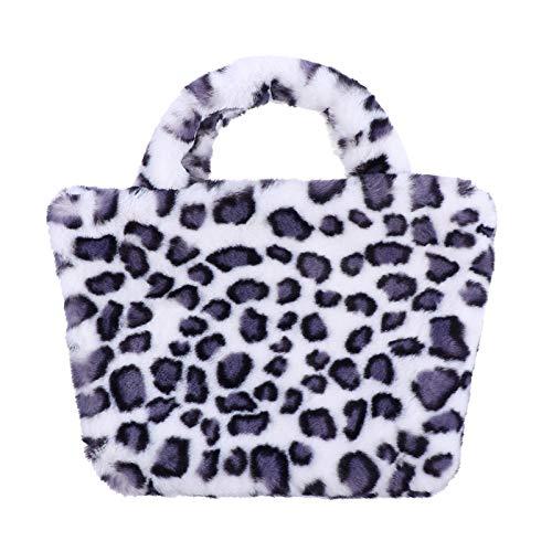 VALICLUD Women Hobo Shoulder Bag Animal Print Bolso con Correa de Cadena Plush Messenger Bag Fuzzy Cheetah Bag