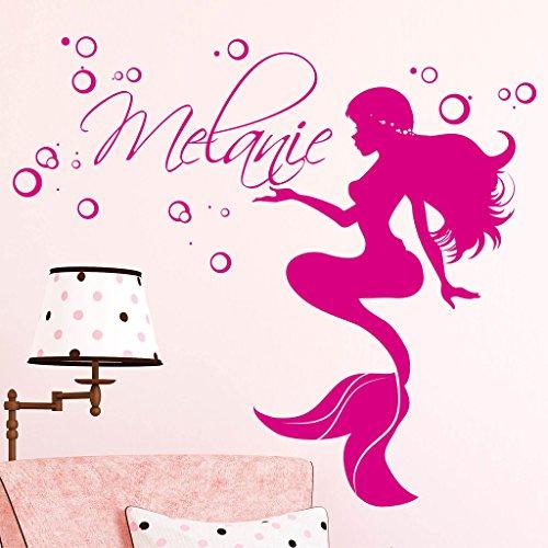 "Wandtattoo-Loft® ""Meerjungfrau mit Wunschnamen"" / Wandtattoo/Wandbild/Kinderzimmer/Wandaufkleber / 49 Farben / 4 Größen/transparent / 45 x 50 cm"
