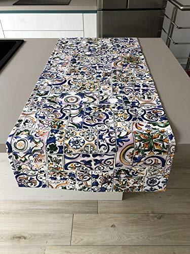 1KDreams Mantel antimanchas impermeable Maiólica y azulejos multicolor Made in Italy (50 x 140 cm)