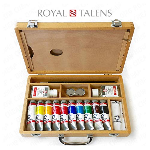 Royal Talens - Van Gogh Acrílico Arte Instalado en Premium Caja de Madera - con Pinturas, Paleta, y Cepillos