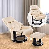 HOMCOM Massagesessel Fernsehsessel Sessel mit Hocker Massage mit Wärmefunktion und Vibration creme - 3