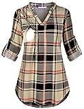 JOYMOM Maternity Plaid Shirts,Womens Fashion Henley V Neck 3/4 Cuffed Sleeve Nursing T-Shirt Pregnancy Form...