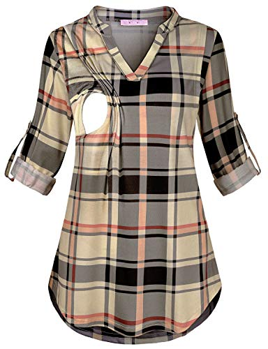 JOYMOM Maternity Nursing Top,Ladies Stylish Notch Neck 3/4 Cuffed Sleeve Breastfeeding Checked Shirts Mother Slimming Comfy Feeding Blouses Boutique Clothes Beige Large