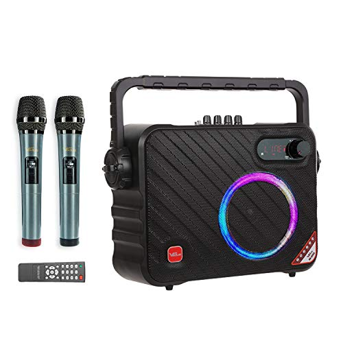 Karaoke Machine, Bluetooth Karaoke Speaker with 2 Wireless Mics, LED Lights, Ideal for Home, Party,...