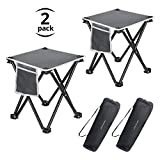 Folding Stool, 13.8 Inch Portable Camping Stool for Outdoor Walking Hiking Fishing 400 LBS Capacity with Carry Bag (2 Pack)