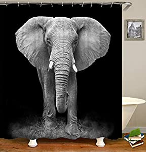 TJZ HOME Elephant Shower Curtain, African Wild Animal Elephant Close-Up Black Gray Polyester Cloth Print Bathroom Curtains Include Hooks Set 72〃w by 72〃L(TP187)