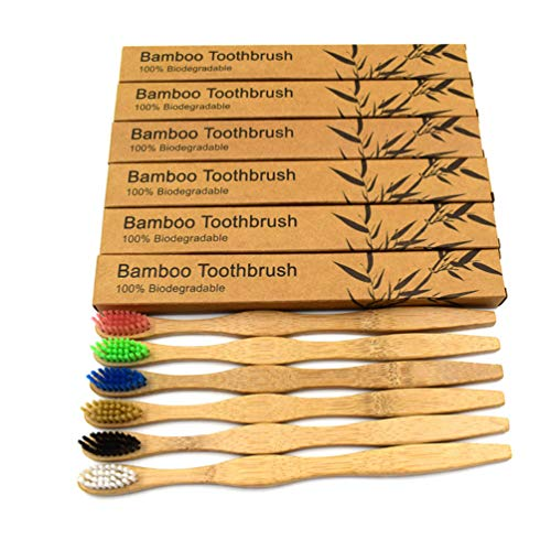 CAN_Deal 6 Pack Rainbow Bamboo Toothbrushes Eco-Friendly Biodegradable Wooden Toothbrushes Soft Bristles in Box