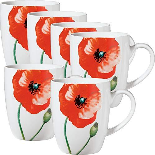 """Gepolana Kaffeebecher\""""Tivoli\"""" 6er-Pack Porzellan rot"""