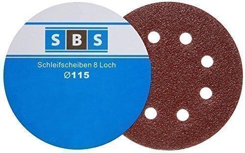 SBS Klett-Schleifscheiben | Ø 115 mm | Körnung 120 | 8 Loch | 100 Stück | für Exzenter-Schleifer
