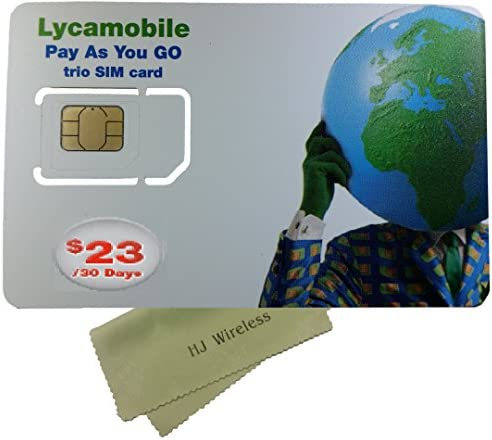 Lyca Mobile Triple Cut SIM Card with 23 Month Unlimited International Plan Nano Micro Standard product image