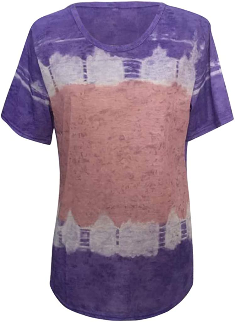 Aukbays Tops for Women Womens Casual Summer O-Neck T-Shirt Gradient Printed Blouse Short Sleeve Shirt Tunic Top
