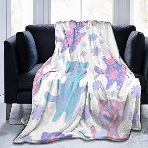 Manta de microfibra de franela fresca con diseño de gato y flores, cálida y peluda de felpa, ligera, para cama, sofá, sala de estar, niños, 152 x 132 cm