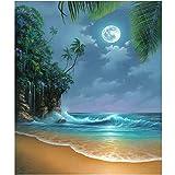 Kit de pintura con brillantes 5D, Cuadros diamantes 5d para hacer,motivo de mar a la luz de la luna,DIY 5D Diamond Painting con diamantes de imitación, para decoración de la pared del hogar