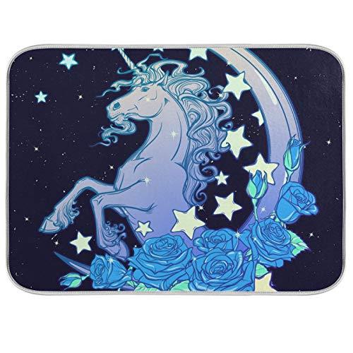 Ghypt - Escurridor para platos de cocina, unicornio, rosas, estrellas, luna, absorbente, microfibra, antideslizante, secado rápido, lavable, para el hogar, 40,6 x 45,7 cm