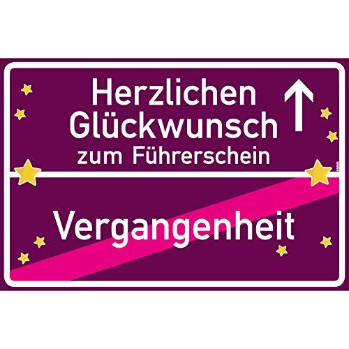 vanva Herzlichen Glückwunsch zum Führerschein Ortsschild Führerscheinhülle Schild 30x20 cm Führerscheinetui Leder Führerschein Mappe Violett