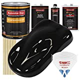 Restoration Shop - Jet Black Urethane Basecoat with Premium Clearcoat Auto Paint - Complete Fast Gallon Paint Kit - Professional High Gloss Automotive, Car, Truck Refinish Coating