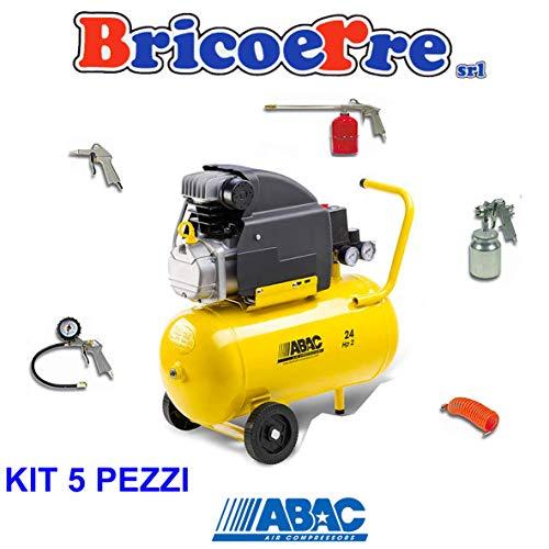 LuftAbac Kompressor ABAC 24 Liter POLE POSITION 8 Bar HP2 mit 5-teiliges Set Quadratischer Filter
