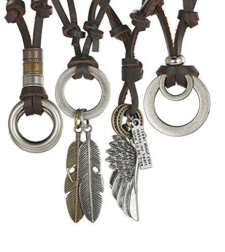 Subiceto 3-4 Pcs Alloy Vintage Pendant Necklace for Men Women Leather Chain Adjustable