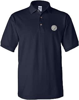 Volleyball Ball Embroidery Design Adult Unisex Cotton Polo Shirt Golf Shirt