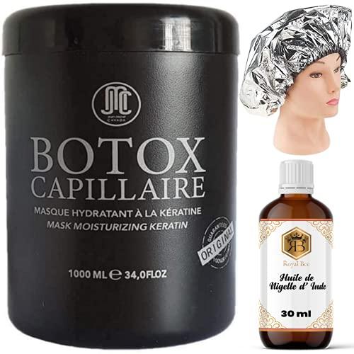 Botox Capillaire Jean Michel Cavada +1 Bonnet auto chauffant + 1 Huile de Nigelle d' Inde Royal Bee 30 ml -Hydrate nourrit et lisse les cheveux - tous types de cheveux - soin capillaire