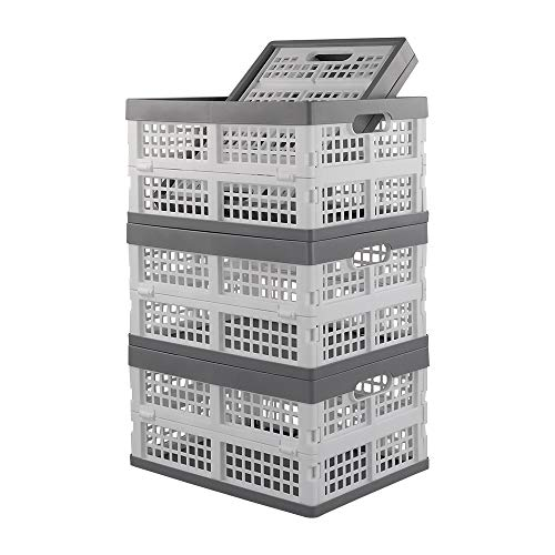 Ponpong Stackable Plastic Milk Crates, File Crate, White Grey, 4 Packs