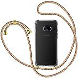 XTCASE Carcasa con Cuerda para Samsung Galaxy S7 Silicona Transparente, Ultrafina Suave TPU Funda de movil con Colgante [Moda y Practico] [Anti-rasguños Anti-Choque] - Arco Iris