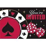 8 tarjetas de invitación con sobre fiesta temática casino Tarjetas de invitación Las Vegas Pack de invitación Convite noche de juegos black jack póker póquer artículos de papelería celebración casa