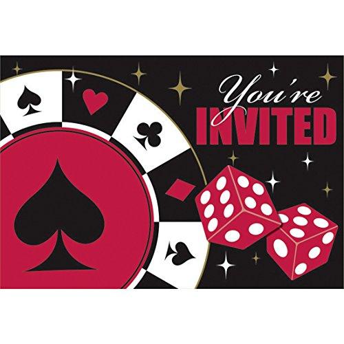 NET TOYS 8 Einladungen Place Your Bets mit Umschlägen Las Vegas Einladungskarten Partyeinladungen Spieleabend Mottoparty Zockerabend Einladungskartenset Gambler Invitation Karten mit Umschlag