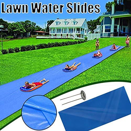 Lanbowo Tobogán de agua de césped divertido para niños resbalones y tobogán patio de verano patio trasero juguetes de agua al aire libre