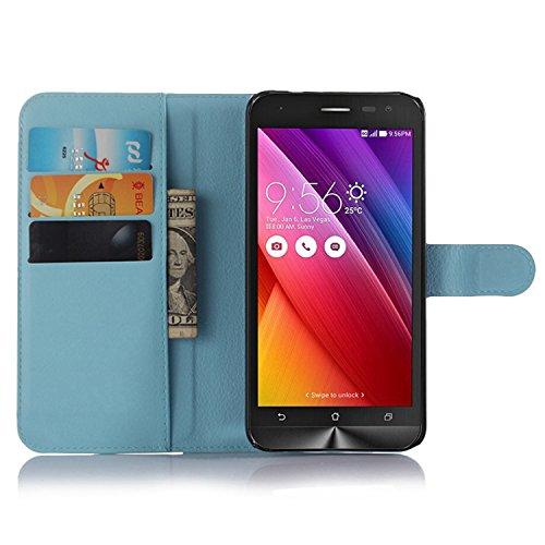 Ycloud Tasche für Asus ZenFone 2 Laser ZE500KL (5zoll) Hülle, PU Ledertasche Flip Cover Wallet Hülle Handyhülle mit Stand Function Credit Card Slots Bookstyle Purse Design blau