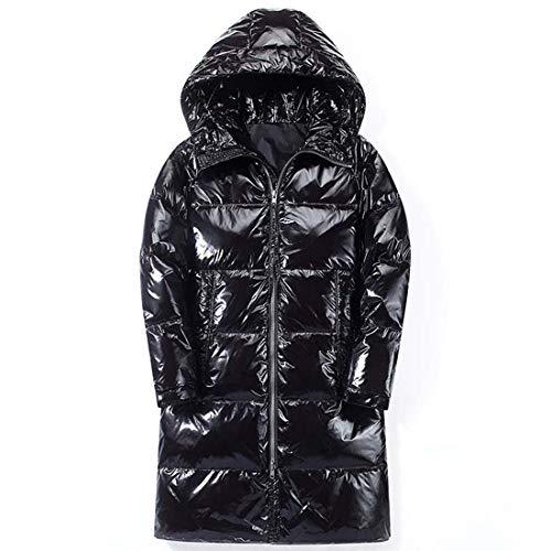 Yuyudou Leichte Outwear Daunenjacke für Herren Wasserabweisende Metallic Party Jacke mit Kapuze, 60% Entendaunen füllung,Schwarz,XL