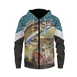 Sweats à Capuche Homme Zippé Sweat à Capuche Animal 3D Sweat Shirt Pull Manches Longues Col Rond Sac Kangourou…