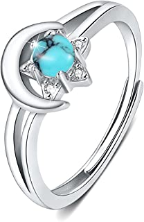 Moon Star Ring 925 Sterling Silver Crescent Moon Star Ring Open Ring Adjustable Ring jewerly Gift for Women