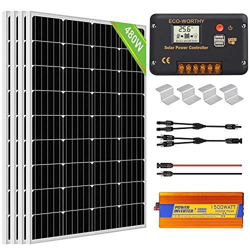 ECO-WORTHY 480W 24V Off Grid Solarmodul...