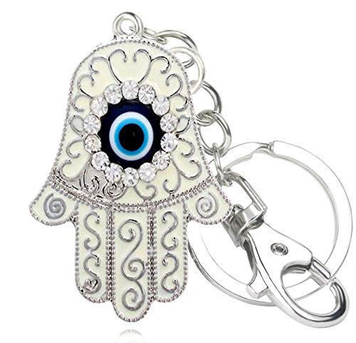 Quadiva - mujer - encanto del bolso con la mano de Fátima - Evil Eye (color: plateado/azul) decorado con cristales